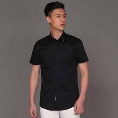 丰雷定制 时尚单品系列 19S-705DC 黑底领面装饰棉半袖衬衫