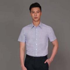 丰雷定制 时尚单品系列 19S-712DC 白蓝小格棉半袖衬衫
