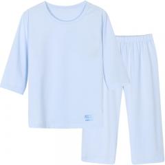 迪士尼男童中袖中裤莫代尔吸湿睡衣 天使蓝1套 110码适合100-110cm身高