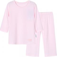 迪士尼女童中袖中裤莫代尔吸湿睡衣 浅粉红1套 110码适合100-110cm身高